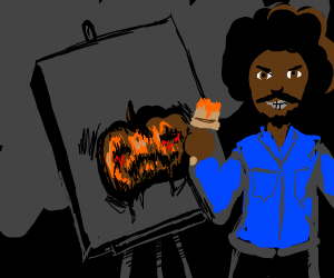Bob ross painting a spoopy pumpkin