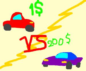 1$ car vs 200$ car