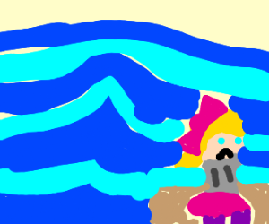 Jojo alone at sea in a storm