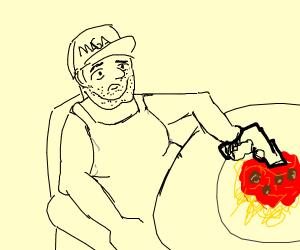 Eating spaghetti -USA style