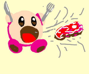 Kirby is about to eat Raw Meat