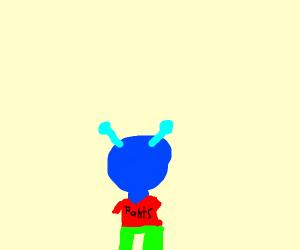 Blue alien wearing a shirt