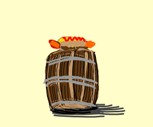 barrel with a hot dog