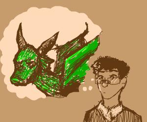 Man thinking of green dragon