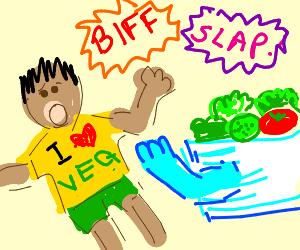vegan fights against salad in an epic battle