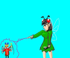 Fly Fairy casting spell on little king
