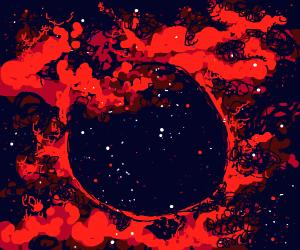 black planet emitting red mist