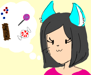 woman with blue cat ears thinks of candy