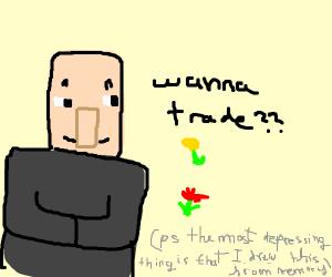 Minecraft villager sells flowers