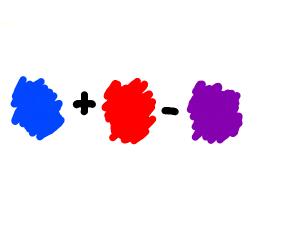 Blue plus red minus purple