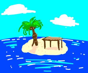 Table on an island