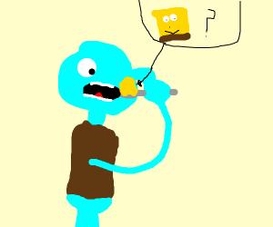 squidward eating yellow goo (possibly sponge)