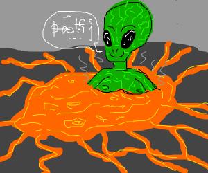 Alien in volcano hot tub