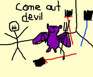 man in broom room summons devil