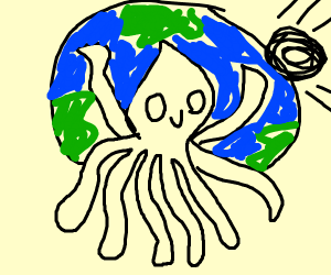 Squid man celebrates the end of the universe