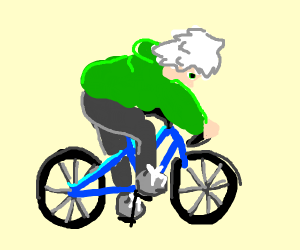 white haired anime guy on a bike