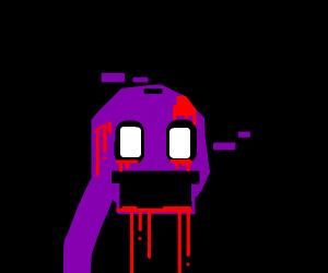 censored purple man bleeding from face?