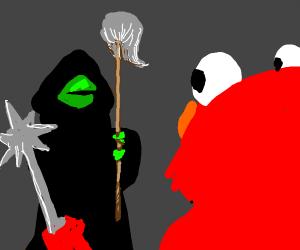 Kermit w/ a Mop Fights Elmo w/ a Morning Star