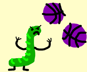 Caterpillar mando of purple basketballs