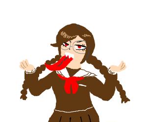 Long-tongued Anime Schoolgirl.
