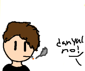 DAN FROM DAN AND PHIL SMOKES A CIGARETTE