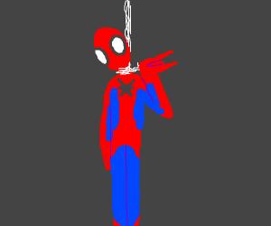 spiderman hung himself