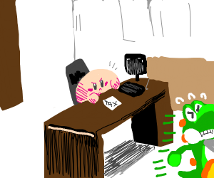 Kirby does his taxes while Yoshi evades his