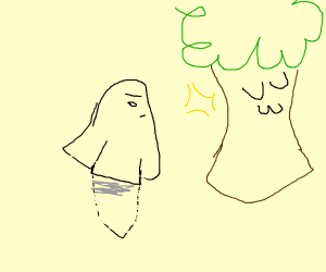 angry ghost stares at beautiful tree