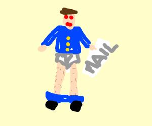 Mailman wearing Pants