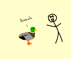 Black stick figure angry at male mallard duck