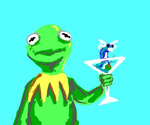 Kermit drinks Dratini Martini