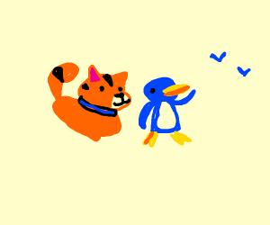 Orange cat and Blue birds are best friends.