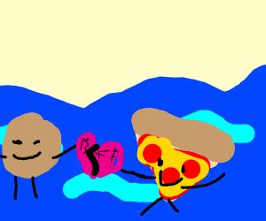 potato and pizza friends swimming