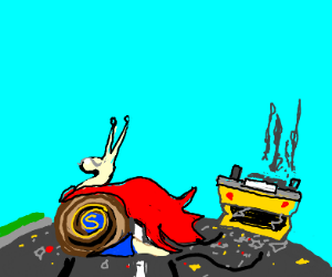 Snail after being run over by car