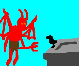 Demon stares at bird, both live