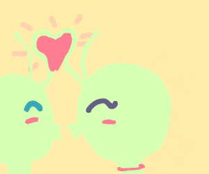 Aliens kiss, their antennae making a heart