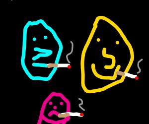 Neon faces smoking cigarettes