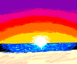 A really colorful sunset in the beach
