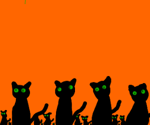 Innumerable cat faces on an orange background