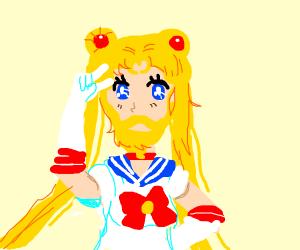 Sailor Moon with facial hair
