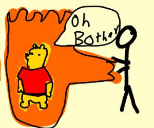 Winnie The Pooh on fire /w lava blender
