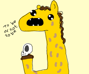 a giraffe reciting Shakespeare