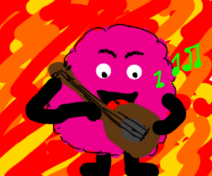 pink fluffy guy plays guitar and sings