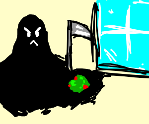 Death absorbing a goopy salad by a window