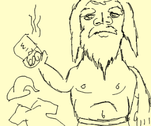wizard in underwear drinking cofee