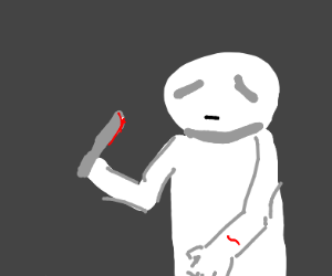 Depressed man with a butter knife