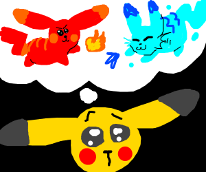 pikachu decides between fire or water