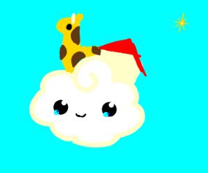 A giraffe on a house in the sky