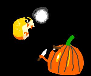 a cheese wheel vs a pumpkin