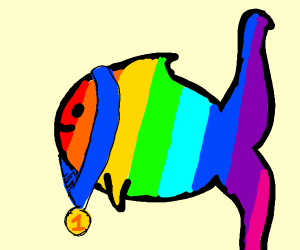 a rainbow fish  with a medal